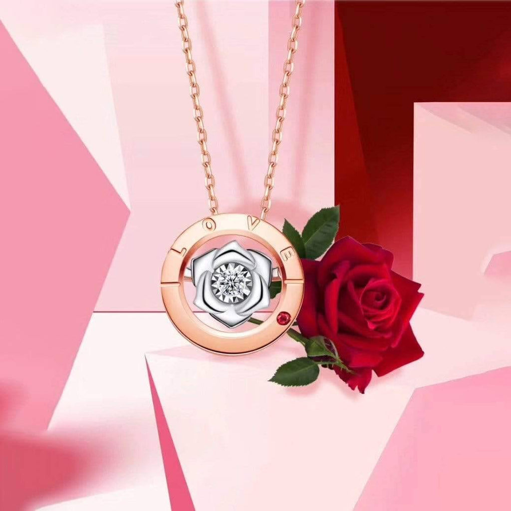 Baikalla™ Love Collection 18K Rose Gold Genuine Red Ruby & Diamond Round Rose Flower Love Necklace