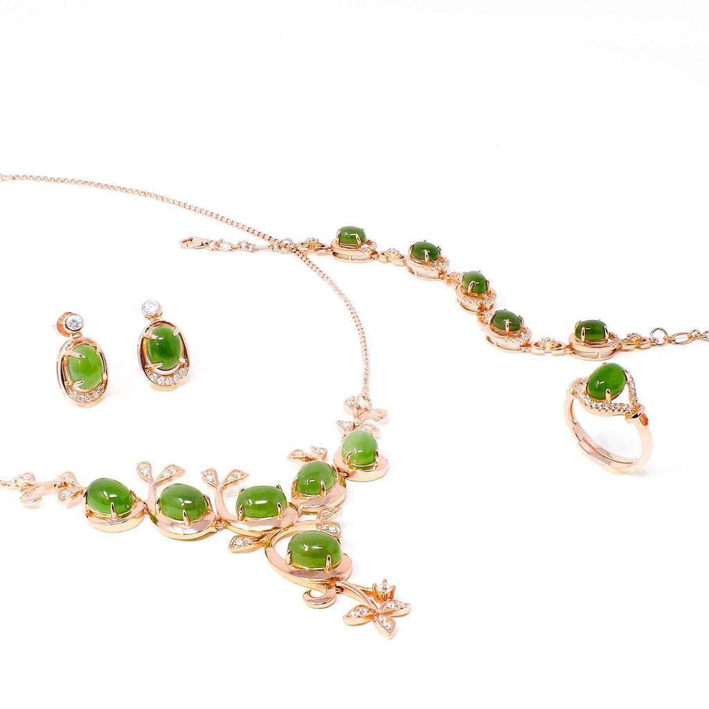 """Prosperity"" Genuine Nephrite Green Jade Sterling Silver Matching Set"