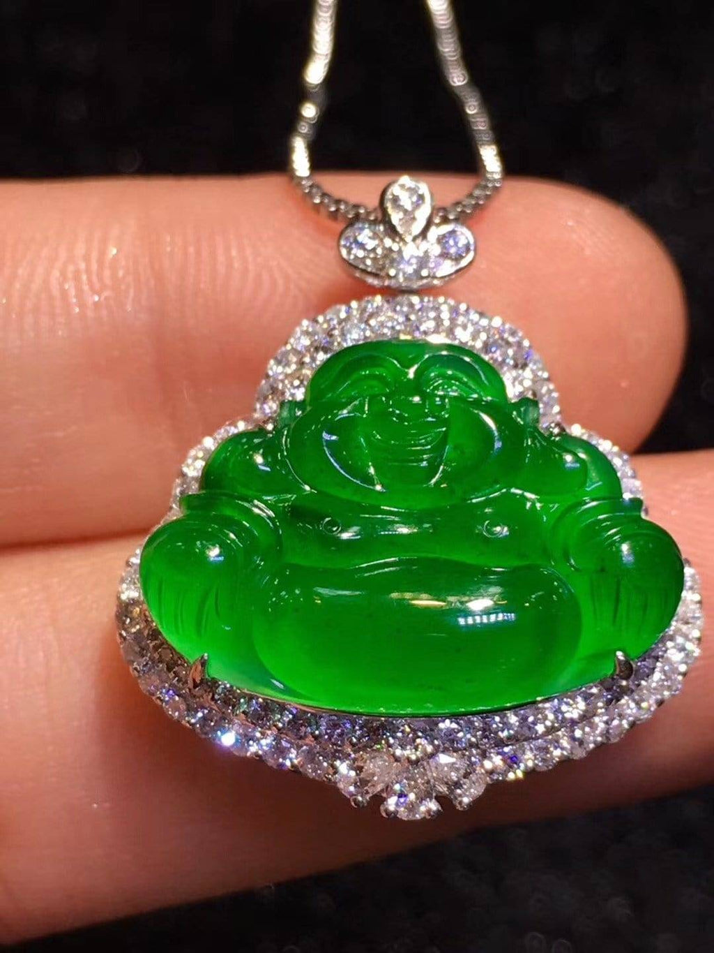 High-End Imperial Jadeite Jade Buddha Pendant Necklace #L85