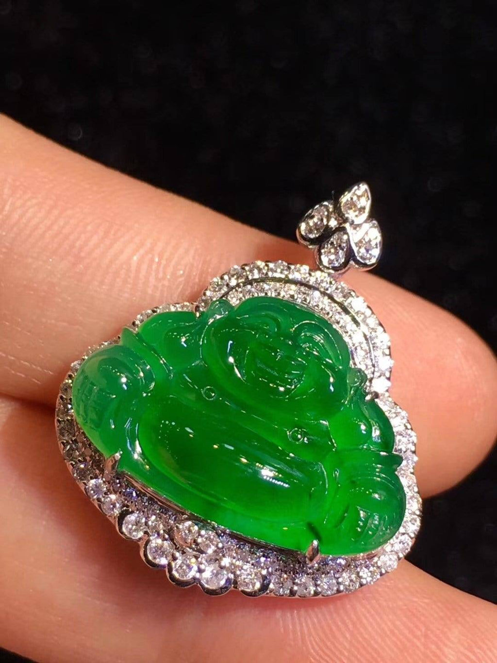 High-End Imperial Jadeite Jade Buddha Pendant Necklace #L86