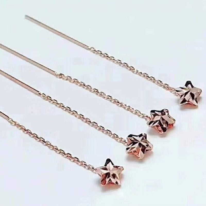 Star Drop Earrings in 18K Royal Rose Gold