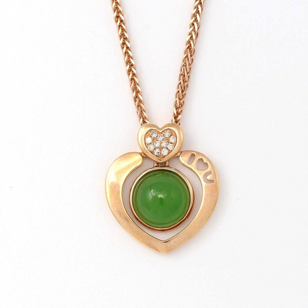 "Baikalla™ "" I♡U "" 18K Gold Genuine Nephrite Green Jade Heart Shape Pendant Necklace With Diamonds"
