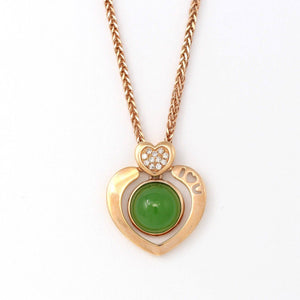 18K Gold Genuine Nephrite Green Jade Heart Shape Pendant Necklace With Diamonds