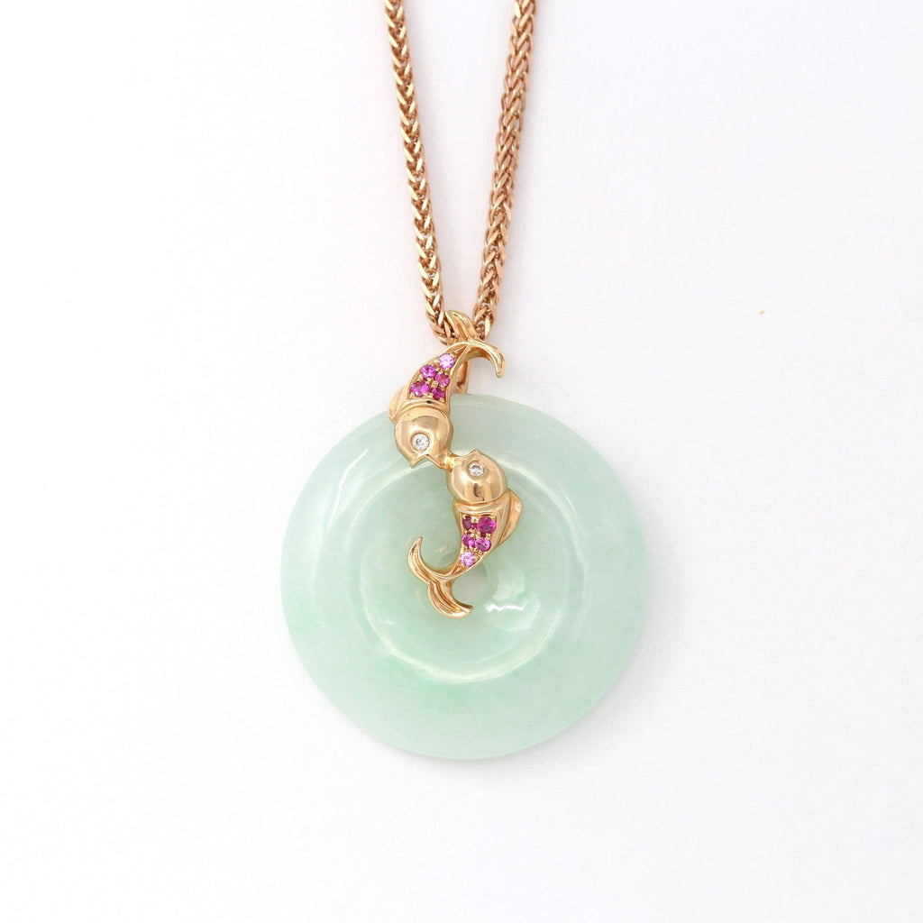 18k Rose Gold Genuine Burmese Jadeite Constellation Pisces Necklace with Diamonds & Tourmaline