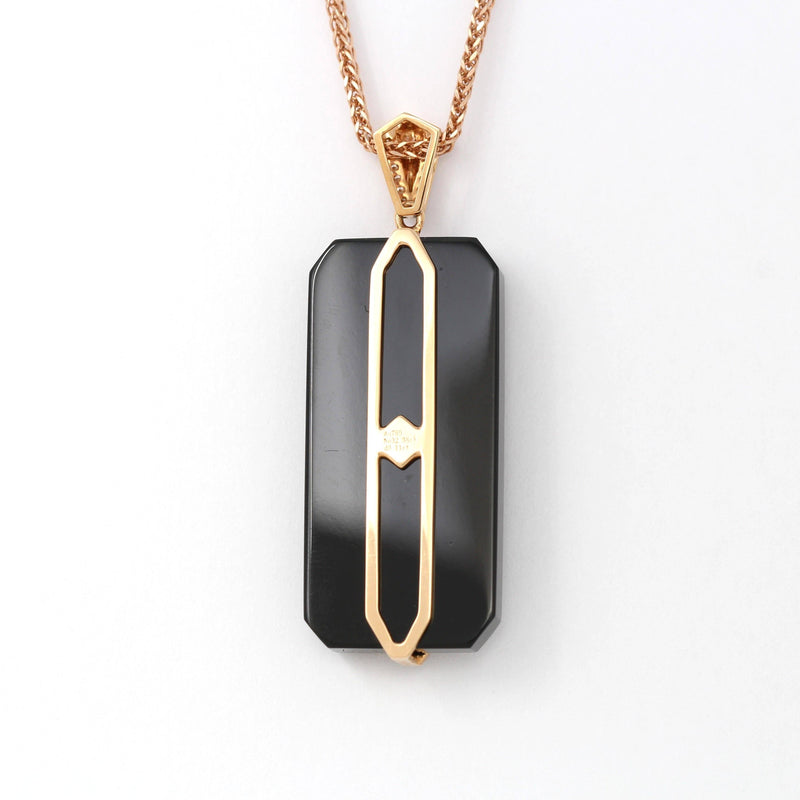 18k Rose Gold Genuine Nephrite Black Jade Men's Pendant Necklace With Diamonds ( high quality )