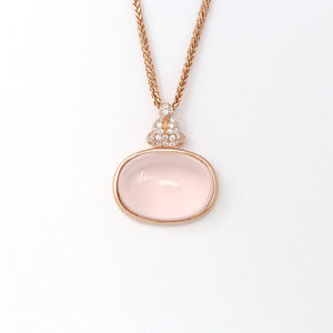 Rose Gold Plated Sterling Silver Rose Quartz Pendant Necklace With Zircon