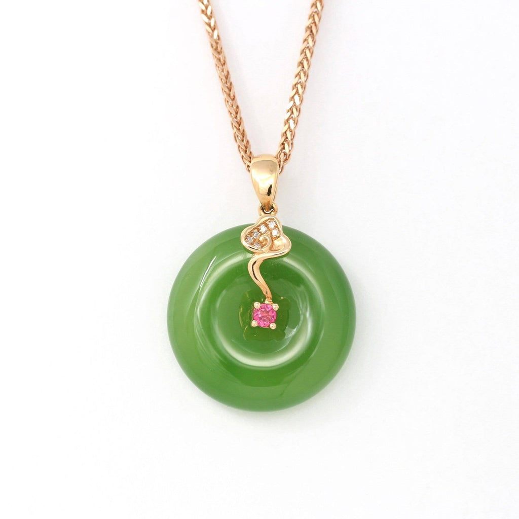 "Baikalla™ ""Good Luck Circle"" 18k Rose Gold Genuine Nephrite Green Jade Pendant Necklace With AA Tourmaline and SI Diamonds"