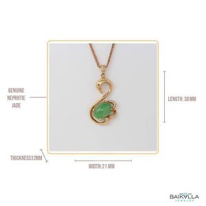 "Baikalla™ ""Love Swan"" 18k Rose Gold Genuine Burmese Imperial Jadeite Swan Pendant Necklace With AA Ruby & SI Diamonds"