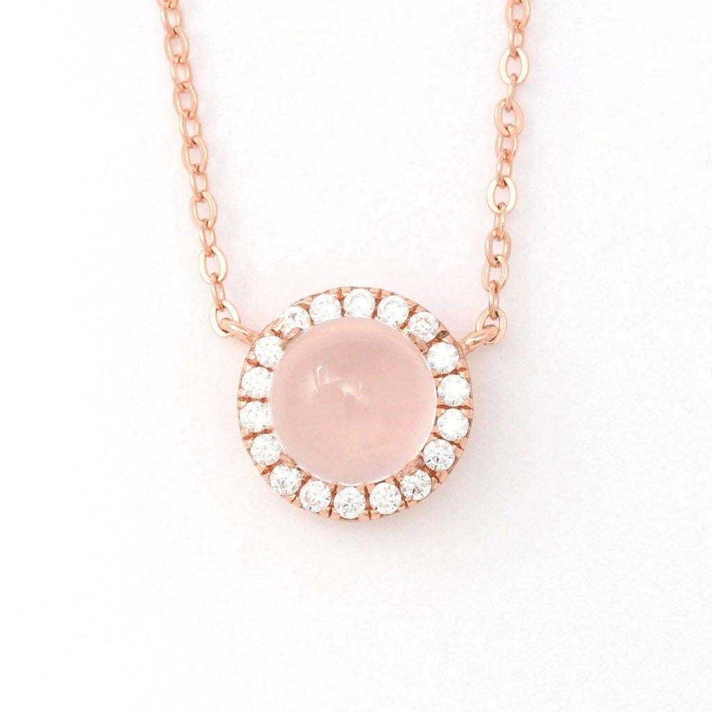 Rose gold natural rose quartz necklace in sterling silver With Zircon