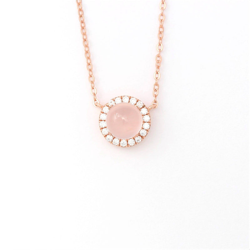 Rose Gold Plated Sterling Silver Rose Quartz Necklace With Zircon