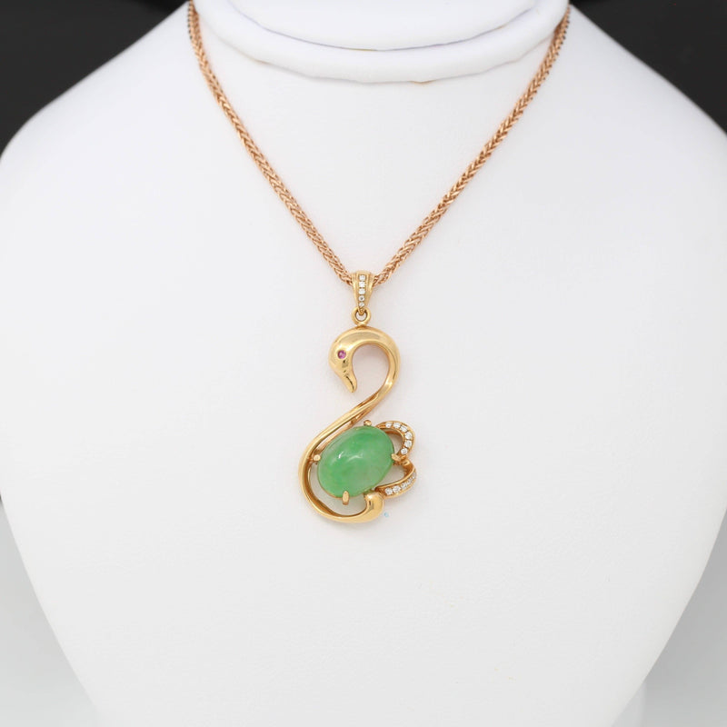 18k Rose Gold Genuine Burmese Imperial Jadeite Swan Pendant Necklace With AA Ruby & SI Diamonds
