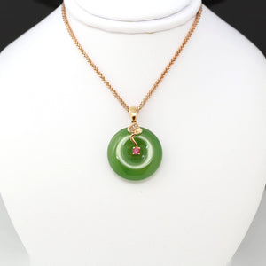 18k Gold Genuine Nephrite Green Jade Pendant Necklace With AA Tourmaline and SI Diamonds