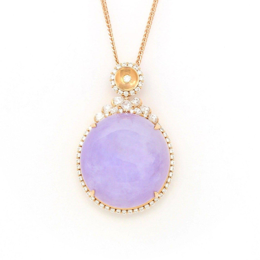 18K Rose Gold Natural Lavender Burmese Jadeite Cabochon Necklace With Genuine Diamonds