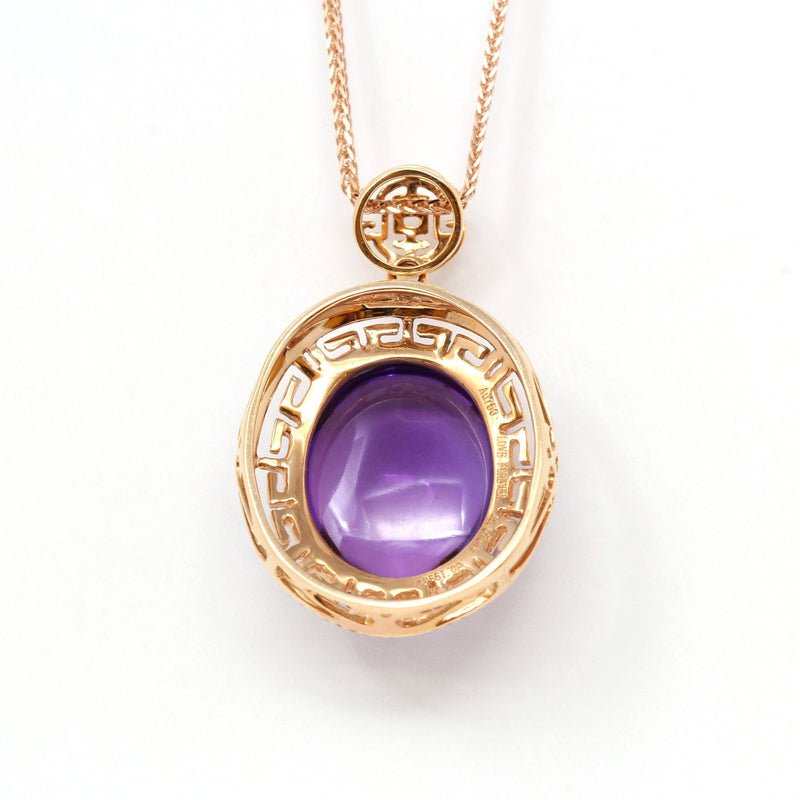 18k Rose Gold Genuine AAA Royal Amethyst Pendant Necklace