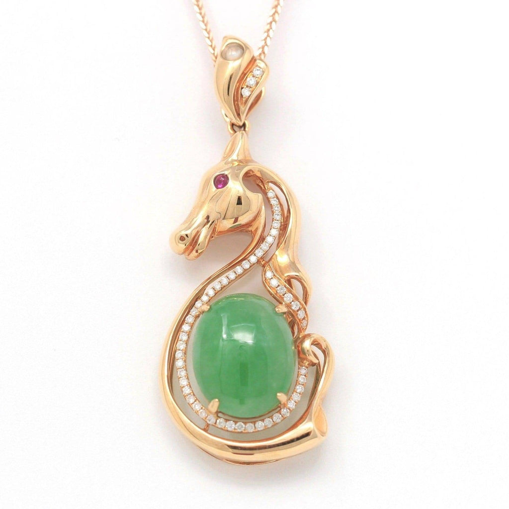 "Baikalla™ ""Stallion"" 18k Rose Gold Genuine Burmese Imperial Jadeite Stallion Necklace, real jadeite Jade Horse Pendant Necklace"