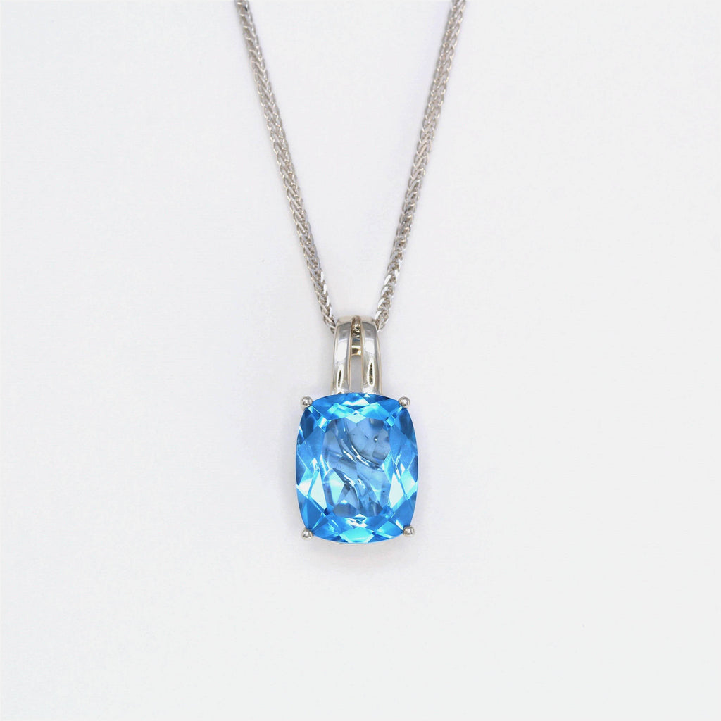 18k White Gold Genuine Swiss Blue Topaz & Diamonds Pendant Necklace