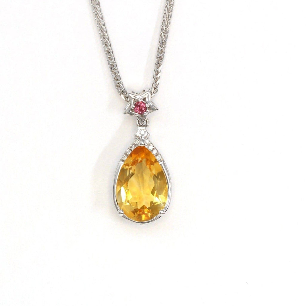 18k White Gold Genuine Citrine & Diamonds Pendant Necklace with Tourmaline