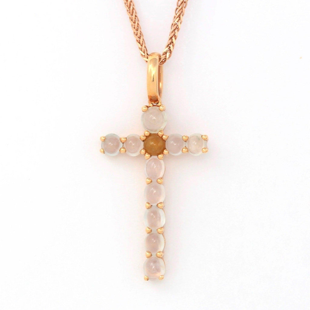 18k Rose Gold White Translucent Burmese Ice & Yellow Jadeite Cross Pendant Necklace