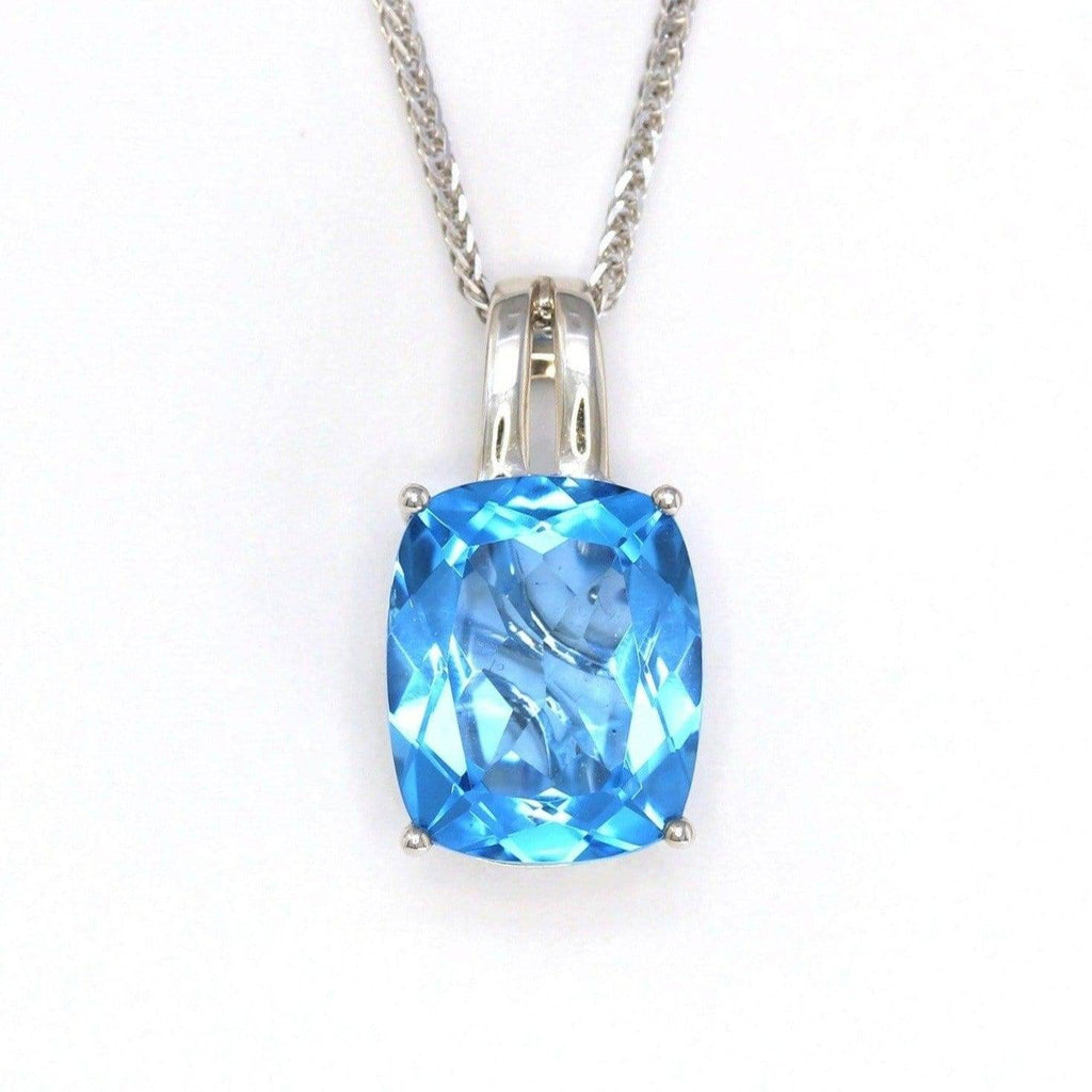 18k White Gold Genuine Cushion Cut Swiss Blue Topaz & Diamonds Pendant Necklace by baikalla jewelry
