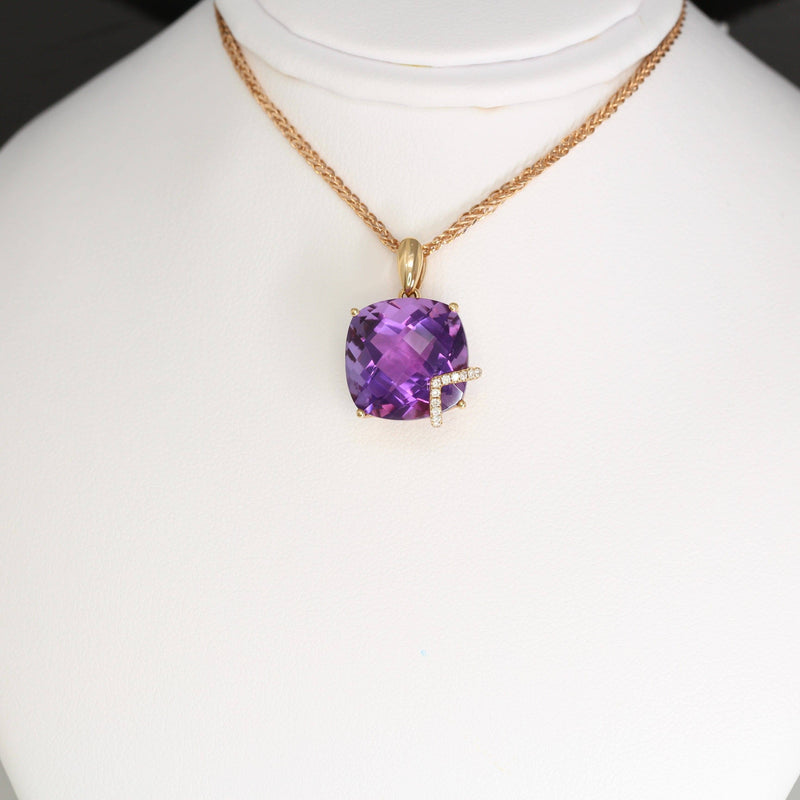 18k Rose Gold Genuine AAA Amethyst Pendant Necklace
