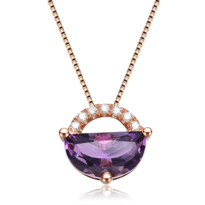 "Baikalla™ ""Jean"" 18K Gold Genuine Amethyst Necklace W/Diamonds ""My other Half is You"" Collection"