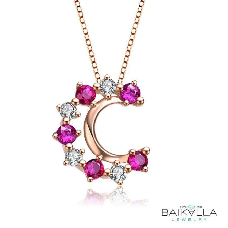 18K Rose Gold Genuine Ruby & Diamond Necklace By Baikalla Jewelry