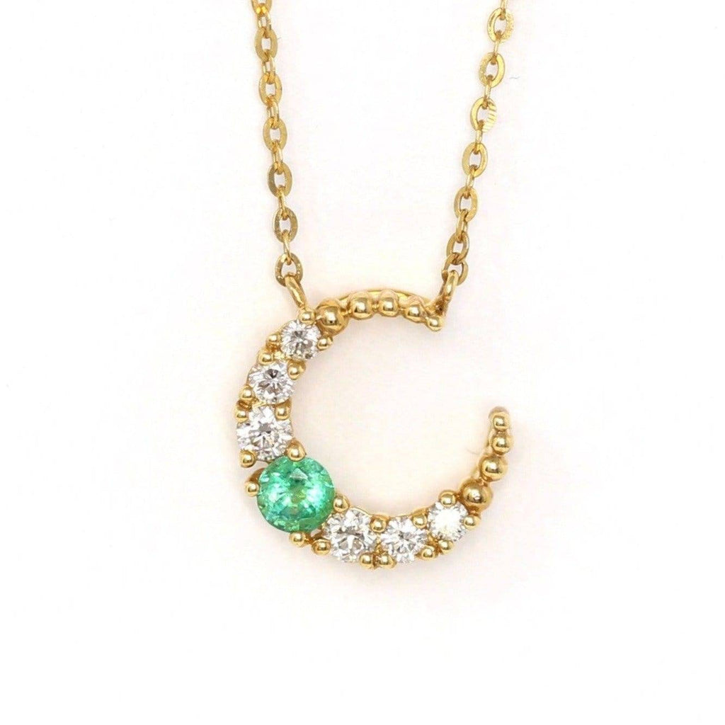 18k Yellow Gold & AA Emerald Pendant Necklace with Diamonds