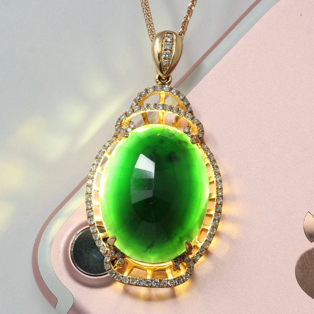 "Baikalla™ ""High end Jadeite Jewelry"" 18K Rose Gold Genuine Burmese Black Jadeite Pendant Necklace"