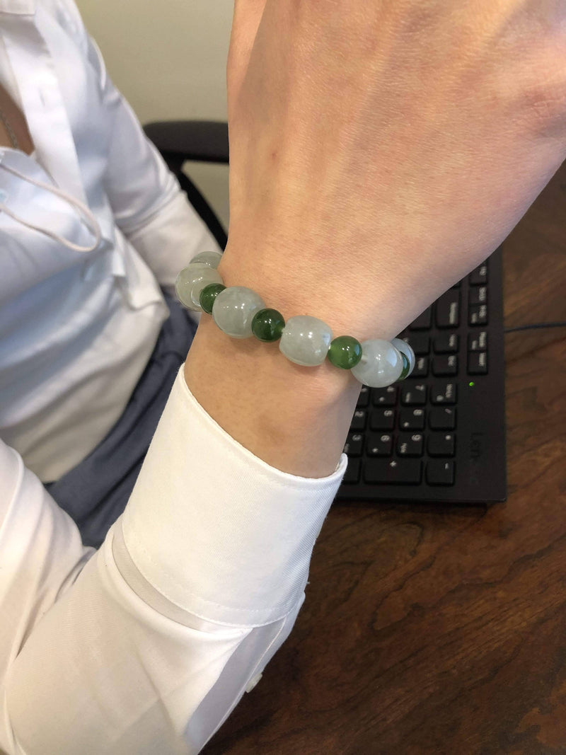 Genuine Ice Jadeite Jade Nuggets Beads Bracelet with Green Jade