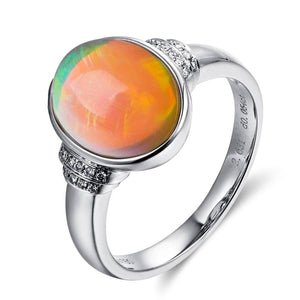 "Baikalla™ ""Caroline"" 18k gold Genuine Cabochon Ethiopian opal Ring w/ Diamonds"