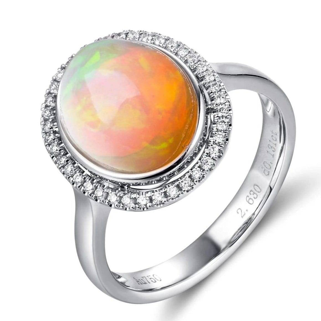"Baikalla™ ""Alice"" 18k Gold Oval Ethiopian Opal Ring w/Diamonds"