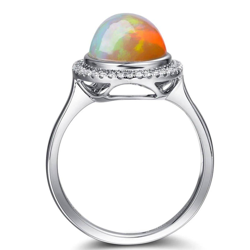 18k Gold Oval Ethiopian Opal Ring w/Diamonds