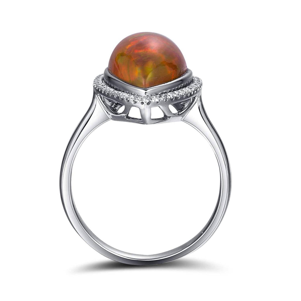 "Baikalla™ ""Louise"" 18k Gold Pear Shape Ethiopian Opal Ring w/ Diamonds"