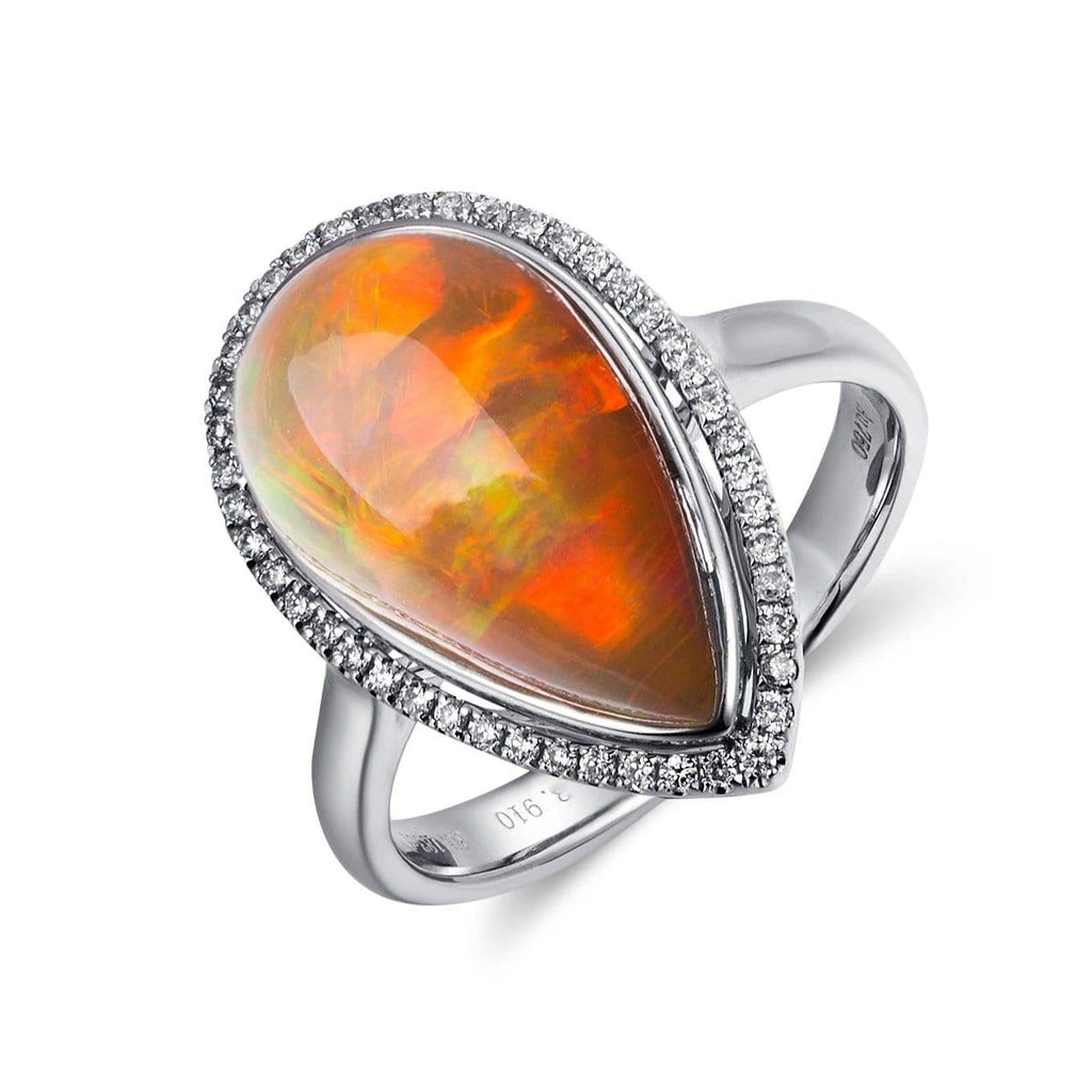 18k Gold Pear Shape Ethiopian Opal Ring w/ Diamonds