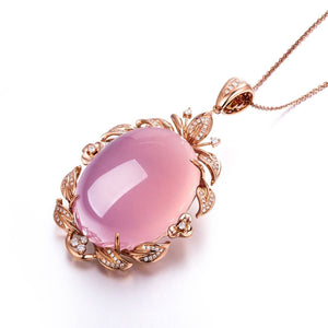 18k Rose Gold Royal Rose Quartz Pendant Necklace with Diamonds