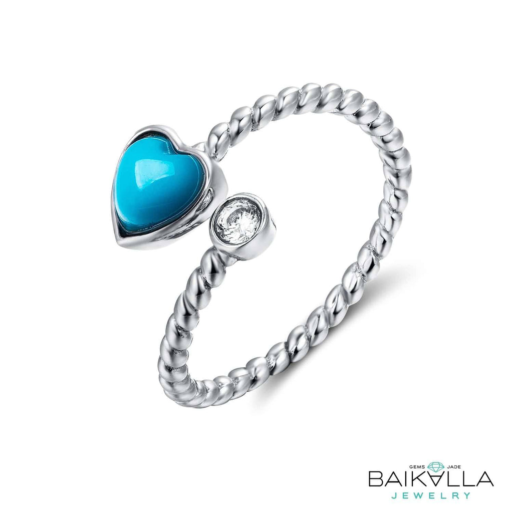 Sterling Silver Genuine Persian Blue Arizona Turquoise Love Ring Baikalla Jewelry