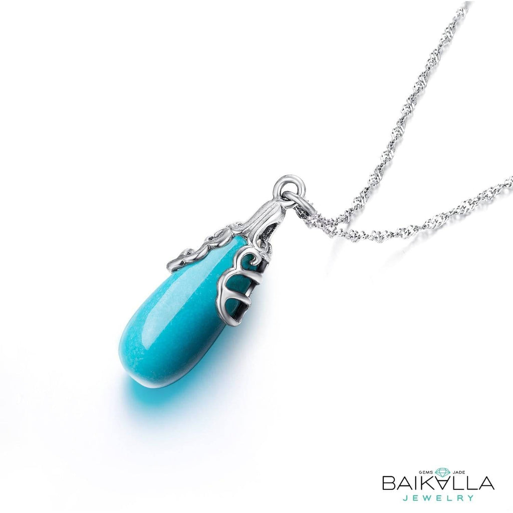Genuine Drop Turquoise Pendant Necklace with Sterling Silver