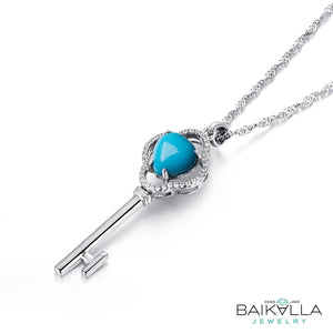 Sterling Silver Genuine Persian Blue Arizona Turquoise Baikalla Key Pendant Necklace with CZ