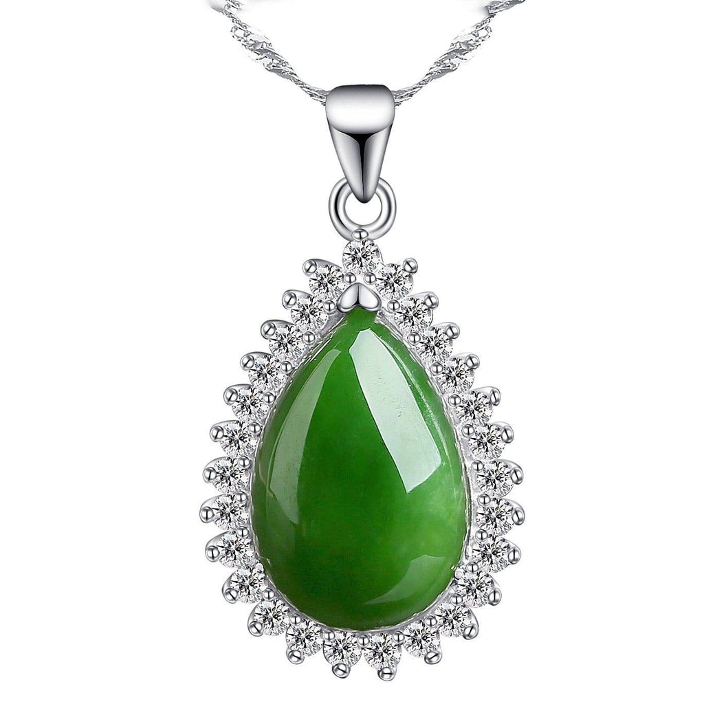 Genuine Green Nephrite Jade Pendant Necklace Tear Drop with Zircon Halo