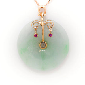 18k Rose Gold Genuine Burmese Jadeite Constellation Horoscope (Libra) Necklace Pendant with Diamonds & Ruby