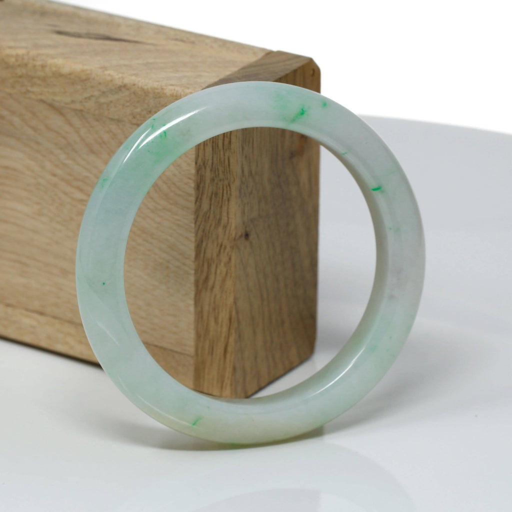 Genuine Burmese Light Green Jadeite Jade Bangle Bracelet ( 56.2 mm) #318