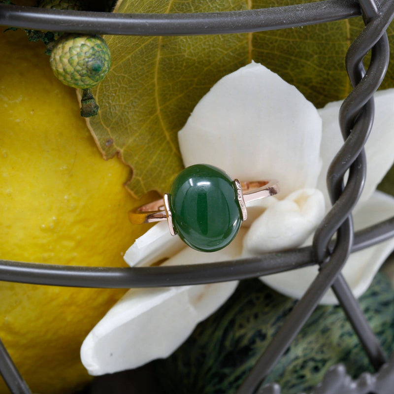 Rose Gold Plated Sterling Silver Nephrite Jade Ring