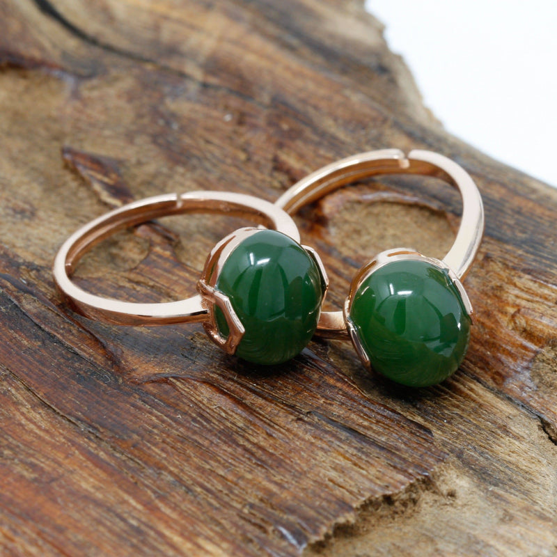 Rose Gold Plated Sterling Silver Nephrite Green Jade Ring
