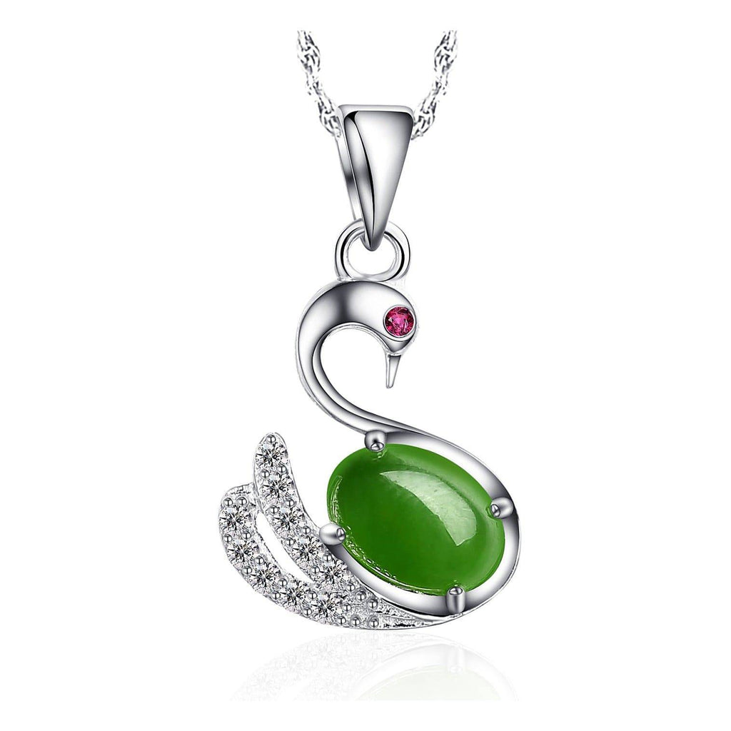 Genuine Nephrite Green Jade Swan Pendant Necklace with Tourmaline & CZ