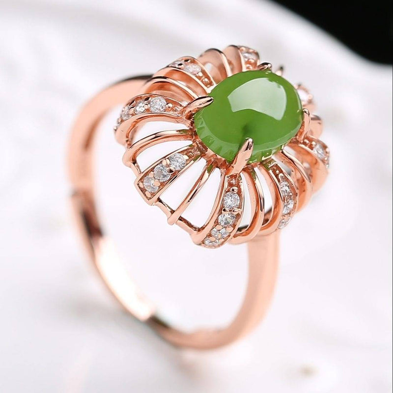 Sterling Silver Rose Gold Plated Nephrite Jade Ring