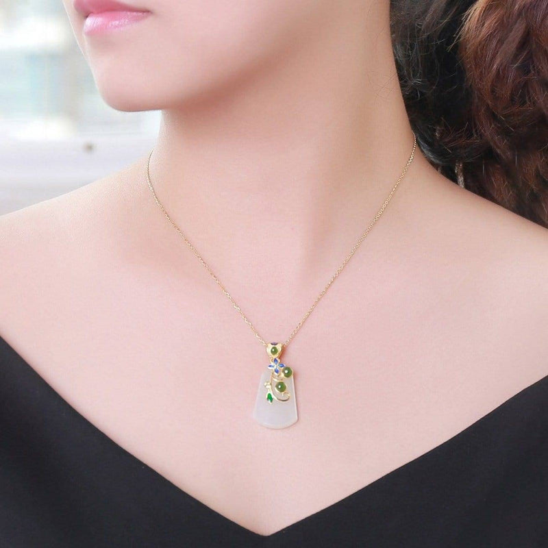 Genuine Nephrite White & Green Jade Pendant Necklace & SS Accents