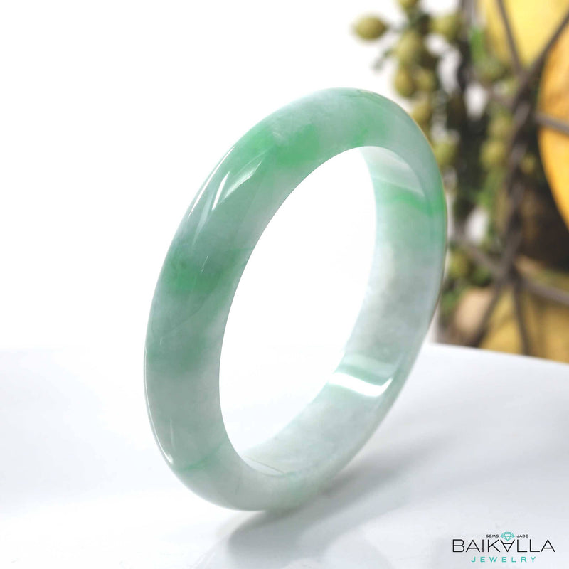 Real Burmese Green Jadeite Jade Bangle Bracelet ( 57.0 mm ) #444