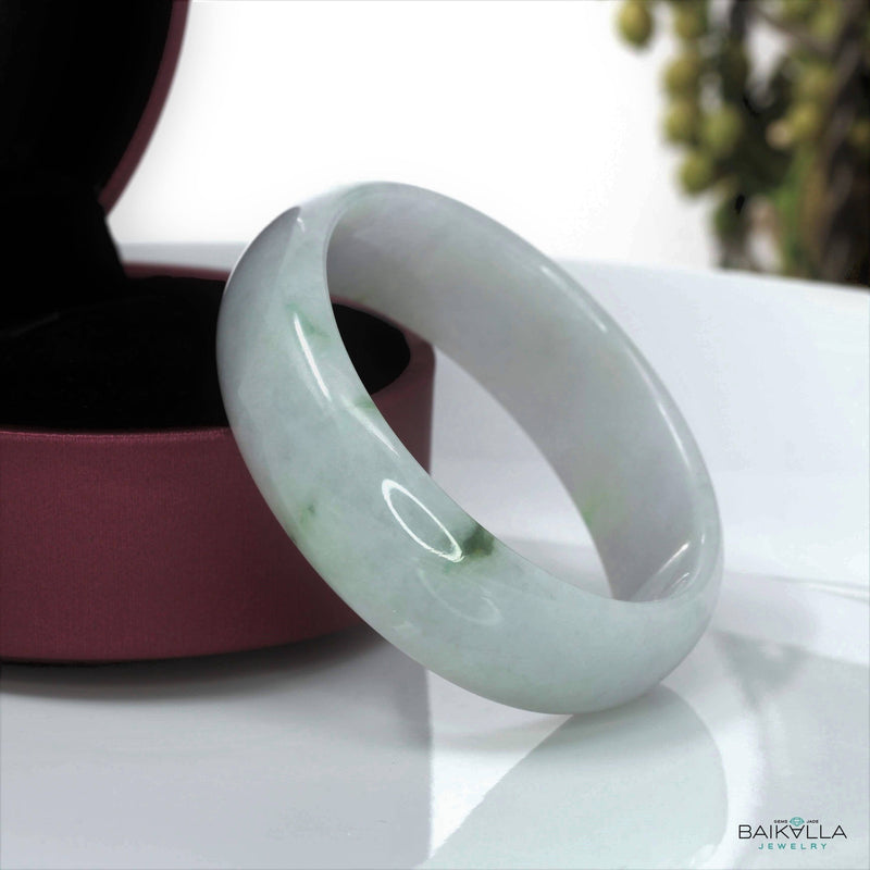 Genuine Burmese Jadeite Jade Oval Bangle Bracelet ( 57.6 mm )#2