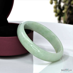 Genuine Burmese Jadeite Jade Oval Bangle Bracelet ( 57.5 mm )#9