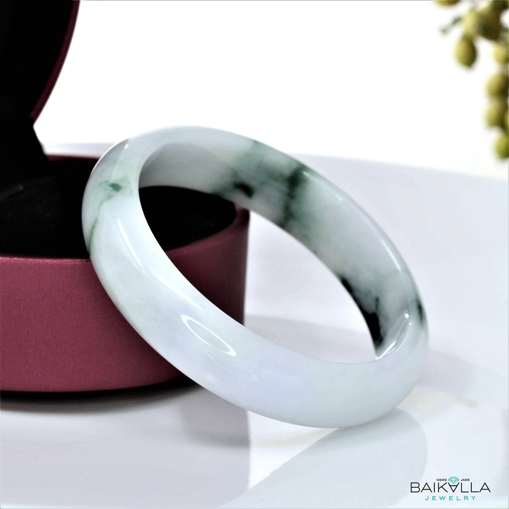 Genuine Burmese Jadeite Jade Bangle Bracelet ( 57.5 mm )#37
